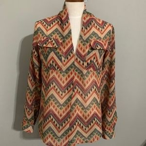 Multi Colored Size L High Low Blouse